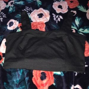 Black crop top with bows in the back